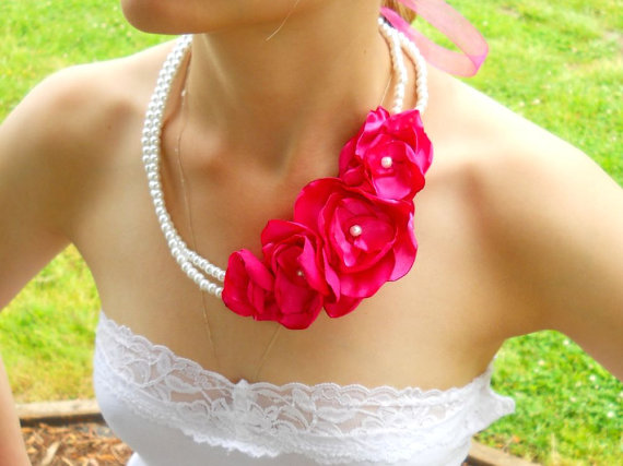 hot pink wedding necklace