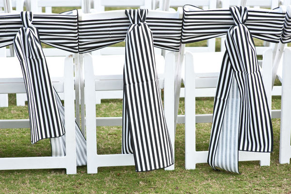 striped wedding chairs