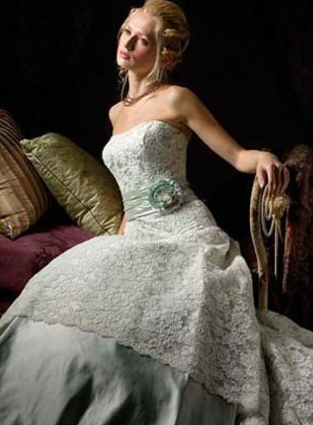 teal wedding dress