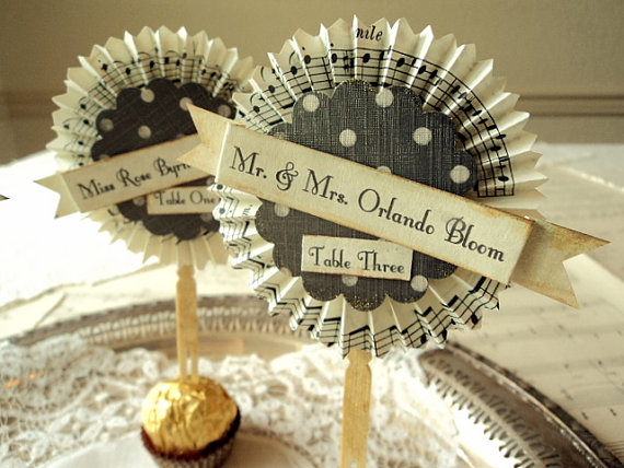 music theme escort cards