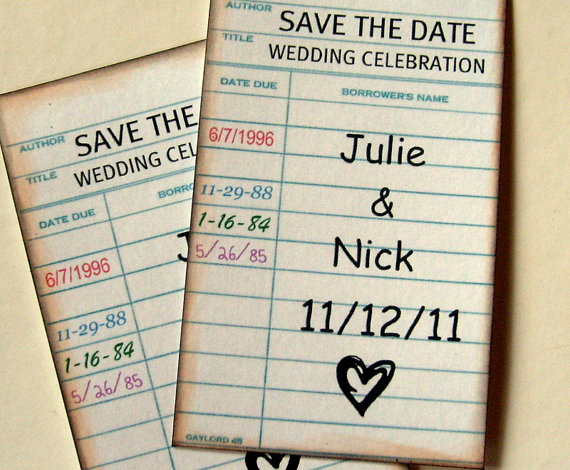 library themed save the date
