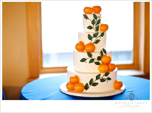 orange detail wedding cake