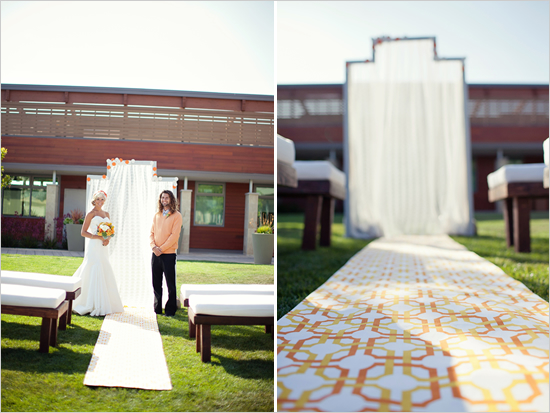 patterned wedding aisle runner Photo Credit Katie Neal Photo