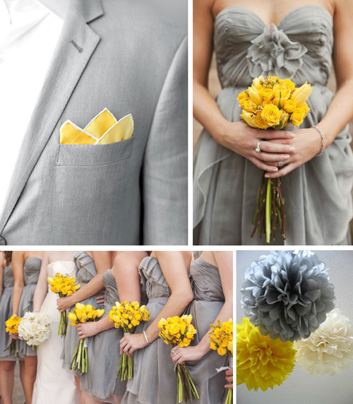 Yellow Bridesmaid Dresses And Grey Suits 94