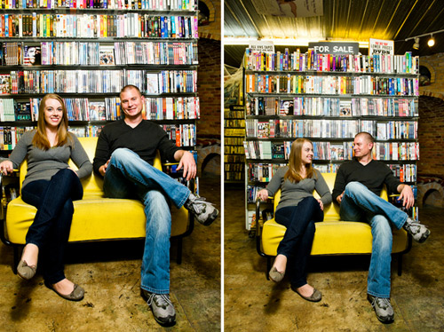 bookstore engagement photos