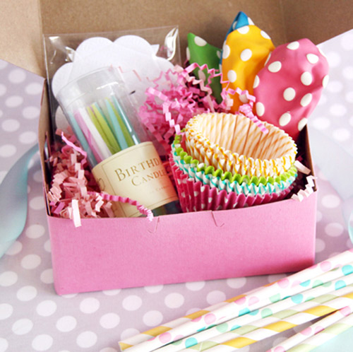 colorful party planning supplies