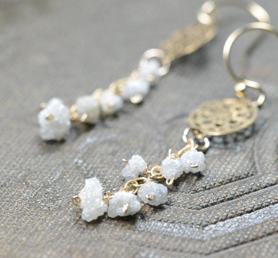rough diamond drop earrings