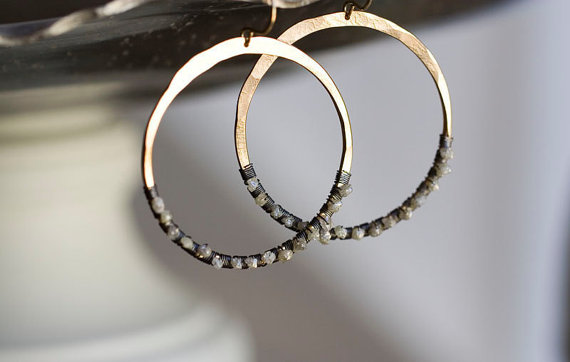 natural diamond hoop earrings