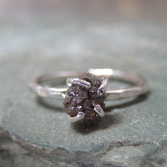 dark natural diamond ring