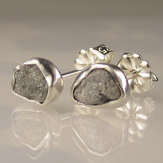 rough diamond silver earrings