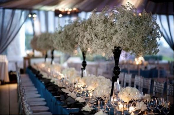 Tall baby breath centerpieces