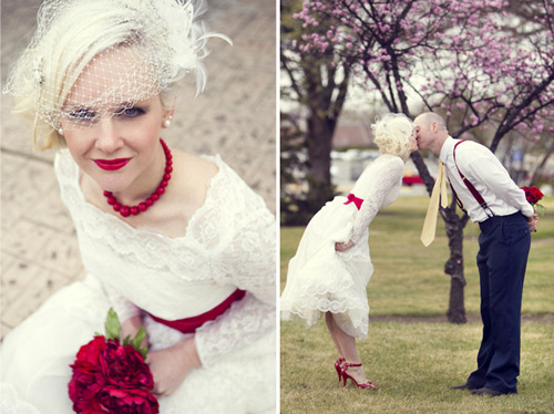 red vintage wedding shoot