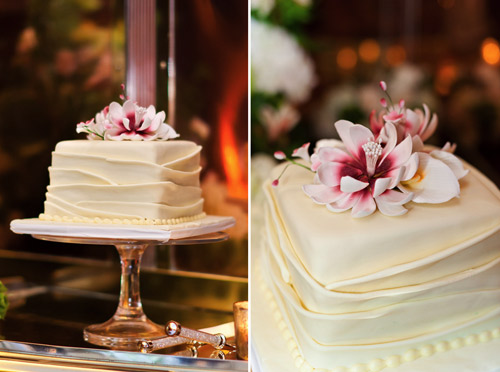 white square wedding cake