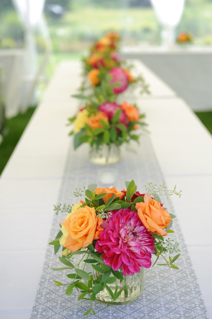 bright wedding table florals