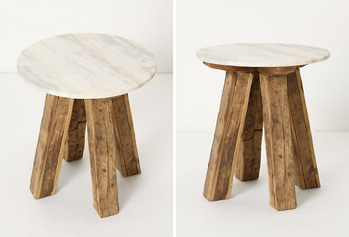 reclaimed wood and marble side table