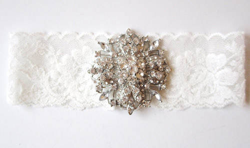 wedding garters with bling