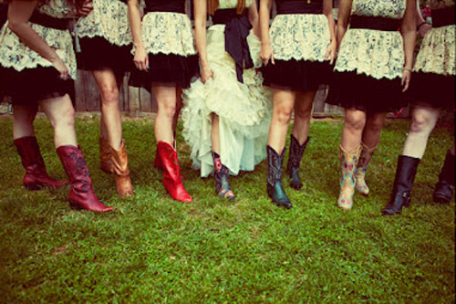 bridesmaids in cow girl boots