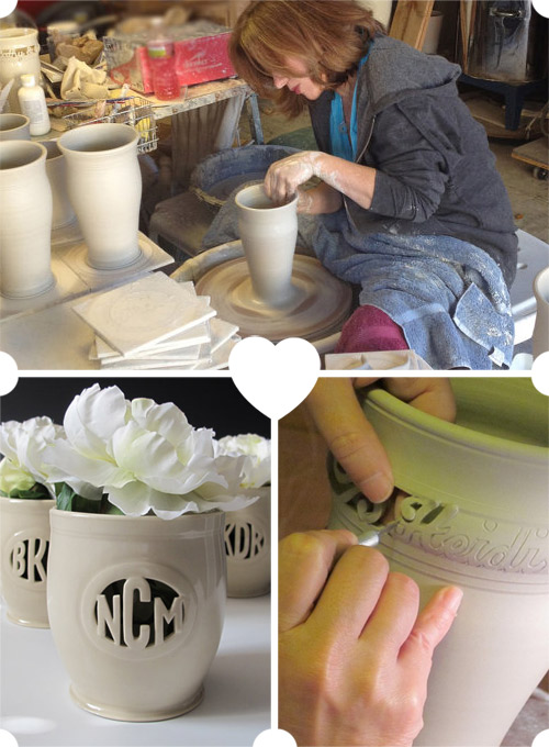 custom monogram wedding vases