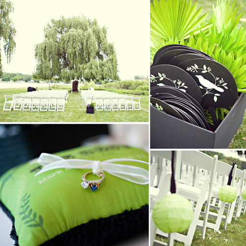 lime green and black wedding details