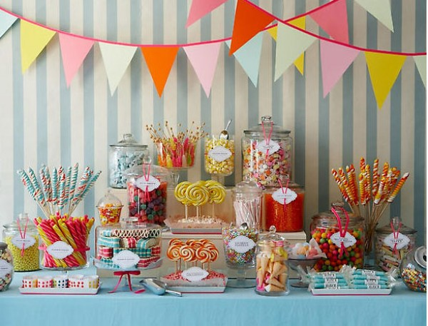 colorful wedding candy bar