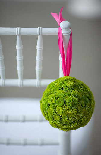 bright green wedding pomanders