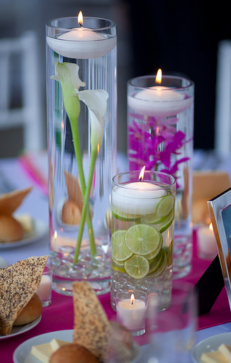 colorful wedding candle centerpieces