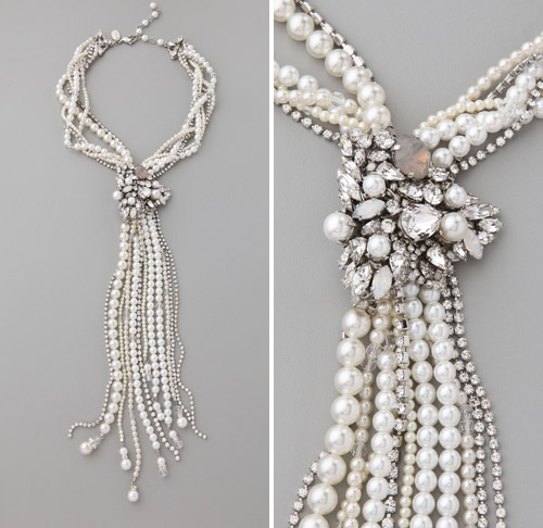 pearl wedding statement necklace