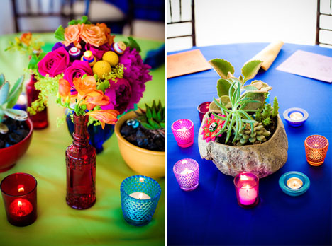 bright colored wedding table decor