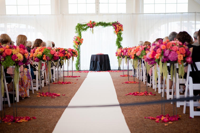 bright floral aisle decor