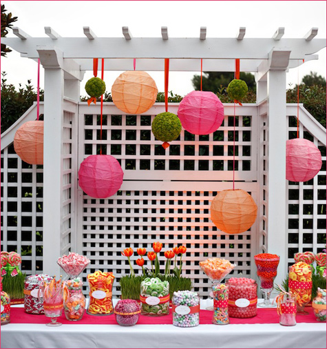 pink and orange wedding lanters