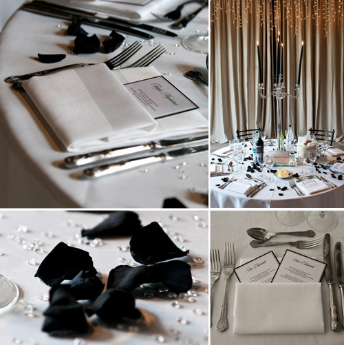 black and silver wedding details