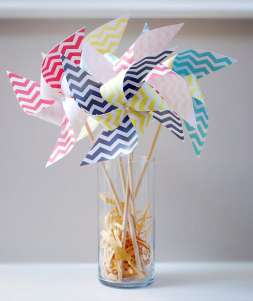 chevron wedding pinwheels
