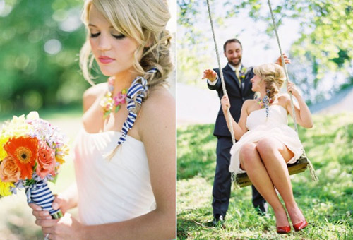 striped wedding details