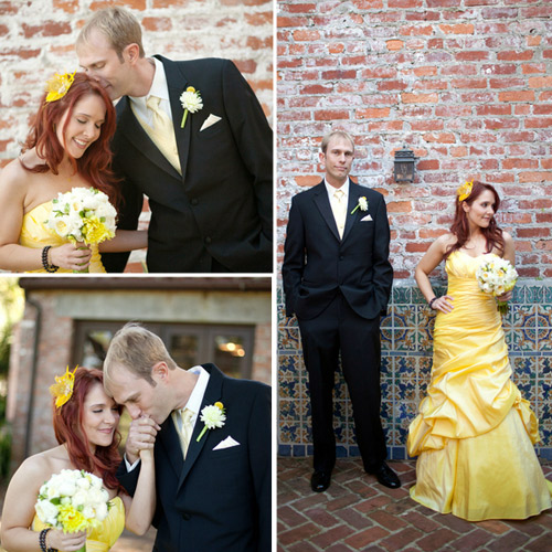 yellow dress wedding portraits