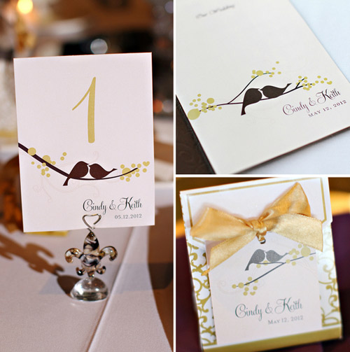 love birds wedding details