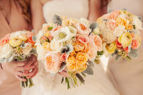yellow peach ivory wedding bouquets