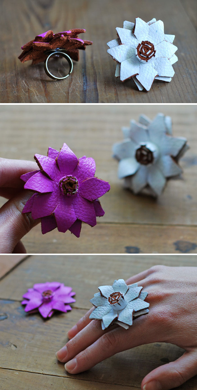 DIY Leather Flower Rings