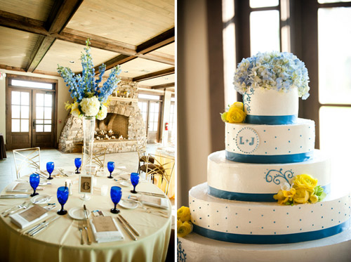 yellow and blue wedding cake