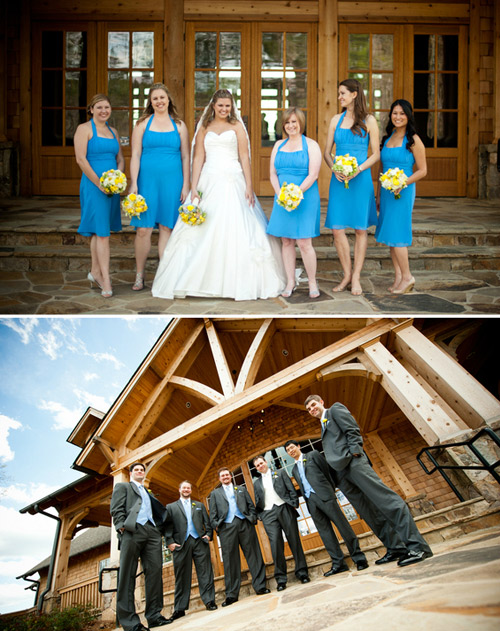 bright blue bridesmaid dresses