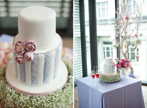 Pastel purple wedding cake