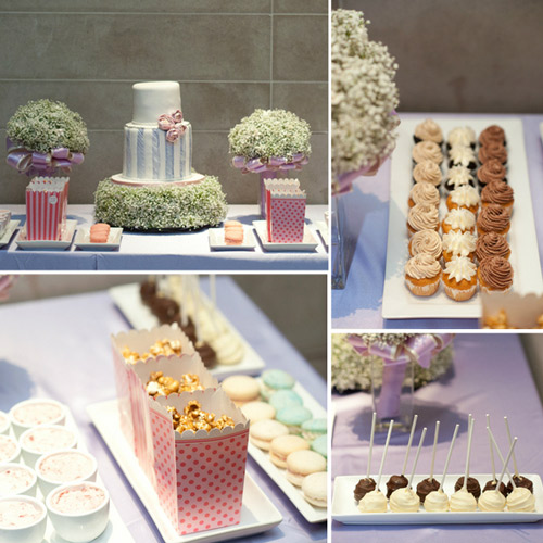 pink purple wedding sweets table