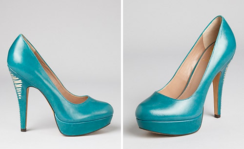 teal wedding pumps