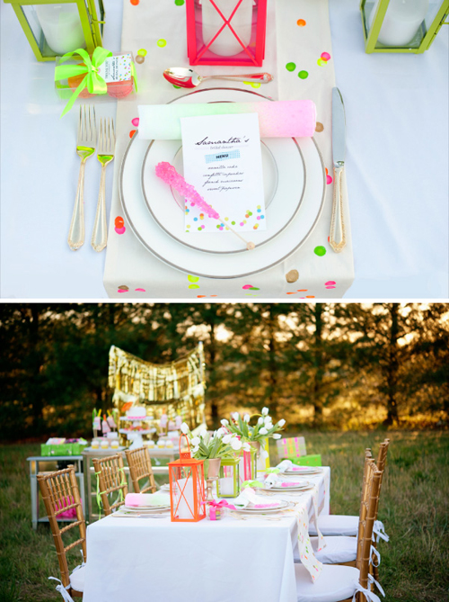 neon bridal shower details
