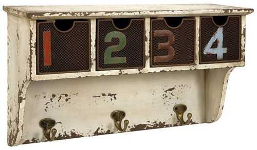numbered drawers distressed shelf