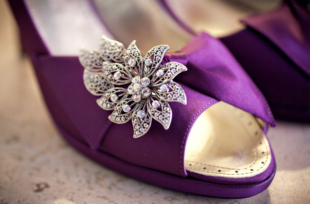Purple Kitten Heel Wedding Shoes