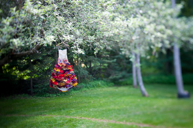 Hanging Colorful Wedding Dress
