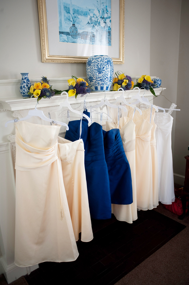 Navy and Ivory Bridesmaid Dresses