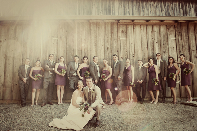 rustic wedding party photo