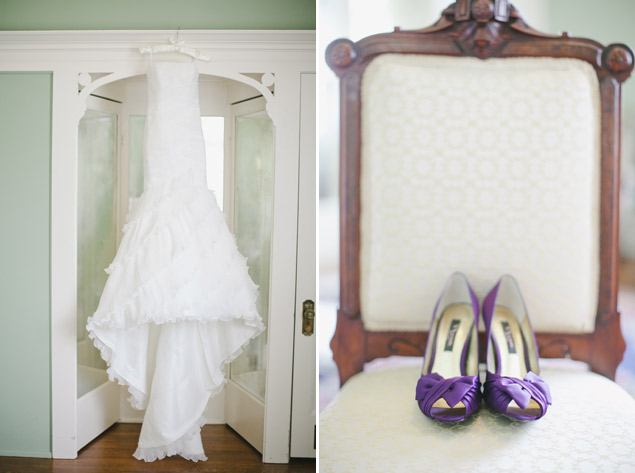 Hanging Wedding Dress and Shoes