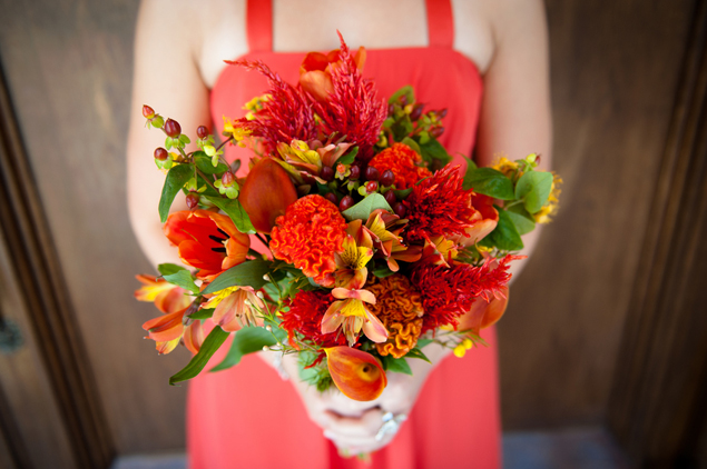 red orange bouquet